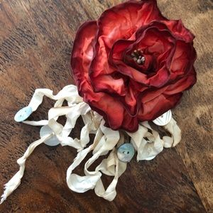 Shabby Chic Ribbon Rose Brooch With Buttons